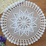 yazi-カントリー 田園風 ラウンド テーブルクロスドイリー レース編み 手作り ホワイト 直径60cm