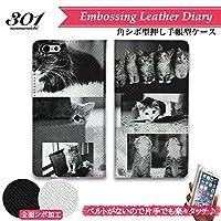 301-sanmaruichi- iPhone6s ケース iPhone6 ケース 手帳型 おしゃれ ネコ 猫 ねこ 子猫 写真 モノクロ フォト A シボ加工 高級PUレザー 手帳ケース ベルトなし