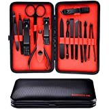 Allnice 15pcs Manicure Pedicure Set Professional Stainless Steel Nail Grooming Kit Personal Nail Care Cutter Cuticle Remover Nail ClippersTool With Luxurious Case for Home Use and Travel(Black)