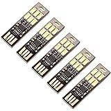 USB LEDライト タッチスイッチ式無段階調光 両面USB接続6LEDライト 電球色5枚セット