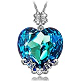 LADY COLOUR Jewelry Gifts for Women, Blue Heart MOM Pendant Necklace Made with Swarovski Crystals, Lucky Clover Design Hypoal