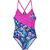 Hilor Girl's One Piece Bikini Swimwear Ruffle Swimsuits Cross Back Bathing Suits for Kid