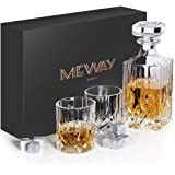 MEWAY Whiskey Glass Gift Pack-Whiskey Decanter, 10oz Whiskey Glasses,Set of 2,with 9 Granite Chilling Whisky Rocks Scotch Gla