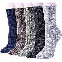 YSense 5 Pairs Womens Knit Warm Casual Wool Crew Winter Socks