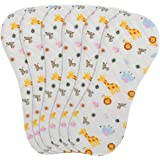 6-Pack Baby Burp Cloths, 100% Organic Cotton, Six Ultra-Absorbent Layers, Newborn Cloth Diapers Set, Spit Up Cloths for Newbo