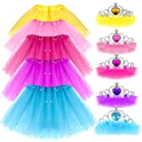 G.C Girls Princess Dress up Clothes with Star Sequins and Princess Crown Tiara Set Ballet Birthday Party for 2-8 Year Old Gir