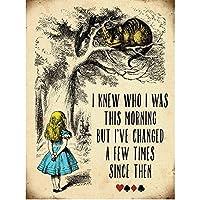 ヴィンテージ調 不思議の国のアリス チェシャ猫 ブリキ看板 ウォールアート サインプレート (40 x 30cm) (マルチカラー)