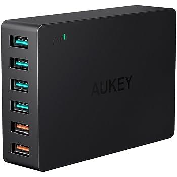 [Quick Charge 3.0対応] AUKEY USB充電器 ACアダプター 60W 6ポート スマホ充電器 急速充電可能 AiPower搭載 iPhone X/iPhone 8 / iPhone 7 / iPhone 7 Plus/iPad Pro/Galaxy / Nexus/Xperia などに対応 (ブラック) 新版 PA-T11