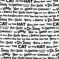 Celebrate Seuss! Book Titles White/Black Fabric By The Yard by Robert Kaufman