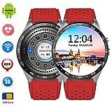 Smart Watches Best Deals - LEMFO KW88 3G WIFI Smart Watch メッセジー通知 遠隔カメラ 歩数計 心拍モニター GPS定位 Google地図 Wechat 一体腕時計 Android 5.1 対応 (赤) [並行輸入品]