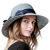 Sedancasesa 小顔効果抜群 つば広帽子 小顔効果 レディース 女性用 折り畳み ハット UVカット 紫外線対策 ちょう結び 麦わら帽子 (ネイビーブルー)