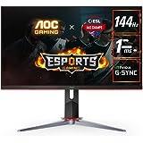"AOC 27G2 27"" Frameless Gaming IPS Monitor, FHD 1080p, 1ms 144Hz, FreeSync, HDMI/DP/VGA, Height Adjustable, 3-Year Zero Dead P"