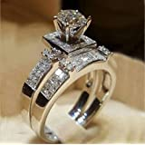 MAIHAO Chic Women Perfectly Cut top Crystal Round Cut Luxury White Sapphire Silver Ring Set Wedding Engagement Jewelry Gift S
