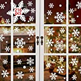 Yusongirl 216 pcs White Snowflakes Window Clings Decal Stickers Christmas Winter Wonderland Decorations Ornaments Party Supplies