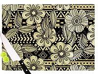 "KESS InHouse Louise Machado""Ink"" Black Floral Cutting Board, 11.5 x 15.75"", Multicolor [並行輸入品]"