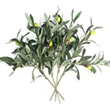 Artificial Olive Plants Branches Fake Fruits Silk Plants Branch Leaves ndoor Outside Home Garden Office Verandah Decor (4 Pcs