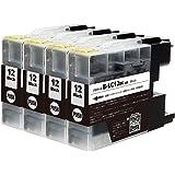 LC12 BK【ブラック4本セット】ブラザー用 純互換インクカートリッジ 残量表示対応 最新ICチップ 対応機種: DCP-J940N / DCP-J740N / DCP-J540N / MFC-J840N / MFC-J960DN / MFC-J9