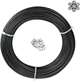 """T316 Stainless Steel Wire Cable, 1/12"""" Cable Bare OD, 1/10"""" Coated OD, 7x7 Strand Core 164FT Length Aircraft Cable 440 lbs Br"""