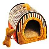 Yihiro ペットハウス 猫 犬 ドーム型 手提げ 2WAY 室内用 マット付き ふわふわ 柔らかで通気性良い ペットベッド レッド M