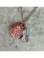 Rose Gold Toned Tuxedo Cat Girl's Aromatherapy Necklace Essential Oil Diffuser Locket Pendant Jewelry for Children...