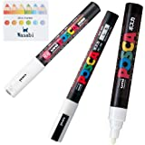 3 Kinds of Uni Posca 【White】 Paint Marker Pen Extra Fine 0.7mm/Fine Point 0.9-1.3mm/Medium Point 1.8-2.5mm & Our Shop Sticky