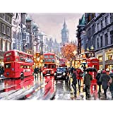 Paint by Numbers Kit without Frame 16x20 inches Diy Oil Painting with Acrylic Pigment (Bus Street)