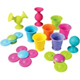 Fat Brain Toys Pipsquigz Whirly-Squigz Suction-Kupz Set - 12 Piece Early Learner Toys - 6 Suction Kupz Stacking Toys, 3 PipSq