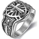 Jude Jewelers Stainless Steel Crusader Sword Cross Medieval Shield Ring (Grey 11)
