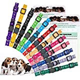 EXPAWLORER Puppy ID Collar Identification Adjustable Breakaway Safety Whelping Litter Collars for Newborn Pets, 12 Pack