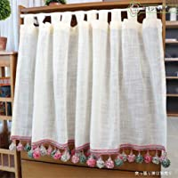 カフェカーテン 60cm丈 90cm丈 小窓カーテン 目隠し 小窓用 カーテン 透け感 リネン調 ビーズ付き フリンジ付…