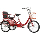 Outdoor Sports 3 Wheel Bikes Adult Tricycle Seniors, Trike 20 Inch Three-Wheeled Cruise Bicycles Bike with Large Size Basket