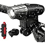 TERSELY USB Rechargeable LED Bike Bicycle Head Front & Back Light Set, [3 in 1] Powerful Lumens Waterproof Front Light, Bicyc