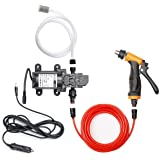 Bang4buck Portable Intelligent Electric Pressure Washer Pump 100W 160 PSI 12V High Pressure Powerful Washing Kit with 22 Inch