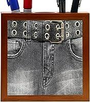 Rikki Knight Old Denim Black Jeans Design with Leather Belt Design 5-Inch Tile Wooden Tile Pen Holder (RK-PH45061) [並行輸入品]