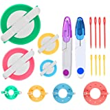 Pompom Maker Kits, 8PCS DIY Different Sizes Pom pom Knitting Loom Kit Fluff Ball Weaver Needle Craft DIY Wool Yarn Knitting C