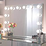 Chende 31.5 x 23.62 Inches Hollywood Mirror with Lights by Stainless Steel Frame, Large Lighted Vanity Mirror with Replaceabl