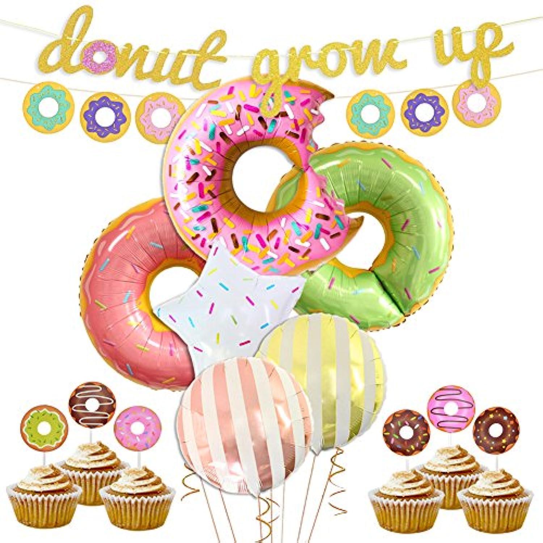 ドーナツ 誕生日パーティー 飾り セット 女の子 ガールズ 子供 可愛い 甘物 スナック 文字 バナー アルミバルーン スター キャンディー 糖 ケーキトッパー ケーキピック お店の装飾 お店用 20枚セット