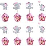 Morofme 48pcs Pink Elephant Cupcake Toppers, Double Sided It is A Girl Elephant Cupcake Picks, Elephant Cake Cupcake Decorati