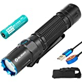 OLIGHT M2R Pro Warrior 1800 Lumens Torch, USB Magnetic Rechargeable Tactical Flashlight Dual Switches, with 300 Meters Beam D