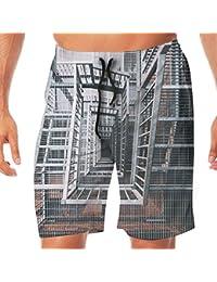 メンズ水着 ビーチショーツ ショートパンツ 個性的な建物 スイムショーツ サーフトランクス 速乾 水陸両用 調節可能