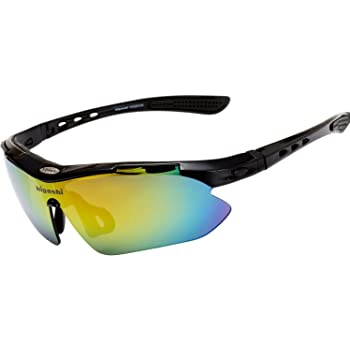 HIGASHI スポーツサングラス 国内正規品 偏光 国内試験済 UV400 紫外線99%カット レンズ5枚 9カラー フルセット ケース付 軽量 HSG01-5
