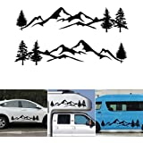 ViCiCA 1Pair/2Pcs Car Sticker Reflective Mountain Decal Tree Forest Vinyl Graphic Kit for Camper RV Trailer Door Panel Decal