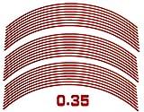 AUTOMAX izumi リム(17~19)赤0.35cm▼直線レッド反射 幅0.35cmリムステッカー17~19インチ対応