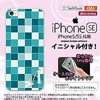 iPhone SE スマホケース ケース アイフォン SE ソフトケース イニシャル スクエア ターコイズ nk-ise-tp1017ini N