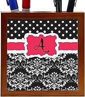Rikki Knight Rikki Knight Initial A Pink Black Damask Dots Design 5-Inch Tile Wooden Tile Pen Holder (RK-PH44374) [並行輸入品]