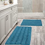Chenille Bath Mat Non Slip Bath Mat Set for Bathroom Extra Thick Soft Striped Bath Rug Water Absorbent Shag Carpet for Indoor