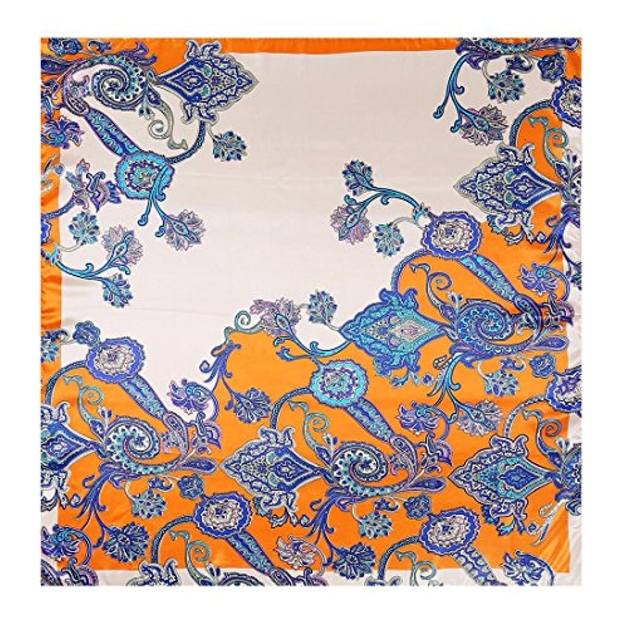 折証人酸素CATYAA カシューフラワークラシックサテンプリントスクエアタオルスカーフスカーフ女性のショール (Color : イエロー, サイズ : 90 * 90cm)