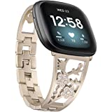Mtozon Stainless Steel Bracelet Compatible with Fitbit Sense/Versa 3, Women Bling Replacement Bands Dressy Luxurious Wristban