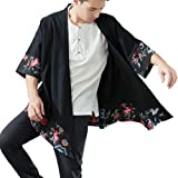 LZJN Men's Vintage Kimono Cardigan Cotton Linen Cloak Poncho Open Front Coat