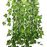 12本入り フェイクグリーン 人工観葉植物 アイビー 造花 藤 緑 壁掛け 葉 インテリア飾り ホーム オフィス ベランダ ガーデン 結婚式 パーティー 飾り 植物装飾(アイビーの葉) (Ivy)Deceny CBの写真